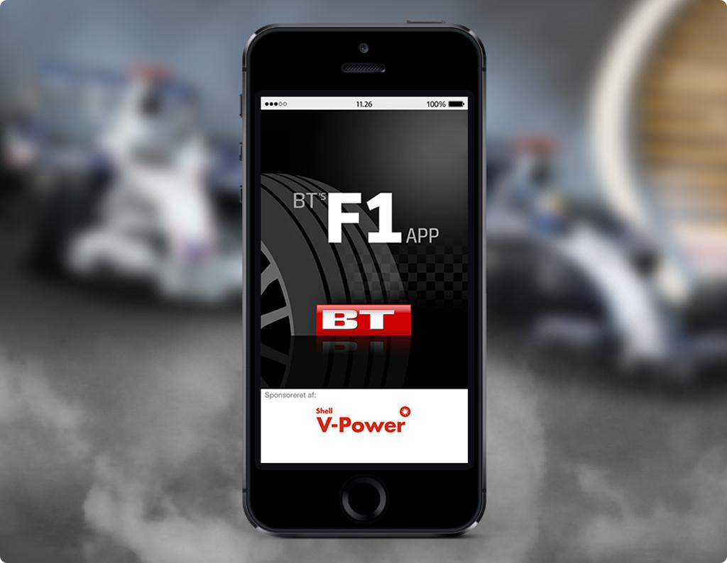 Mockup af BT's Formel1 app