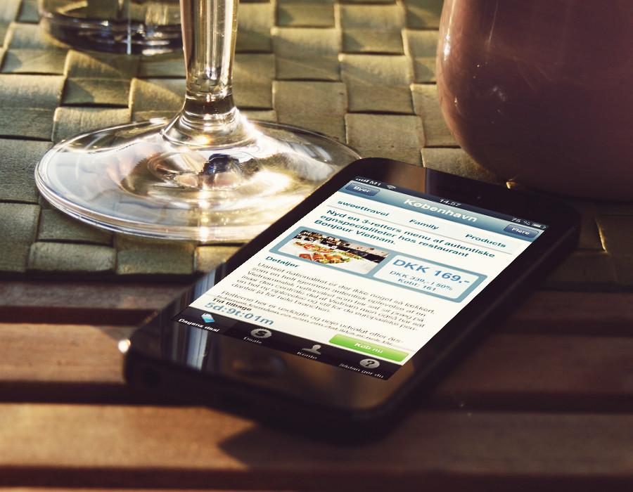 Mockup af Sweet deal app'en 1.0 da den var grøn