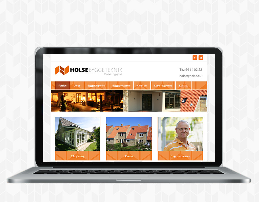 Mockup af Holse.dk cms hjemmeside lavet hos Danaweb